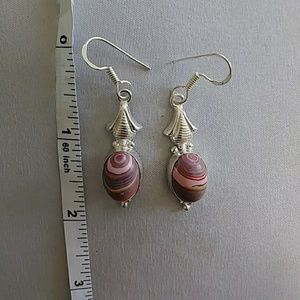 925 marked silver hanging earrings multi colored